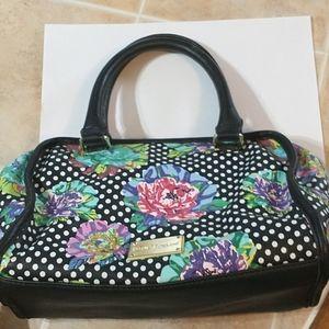 BETSEY JOHNSON Purse Bag Floral Polka Dot Black